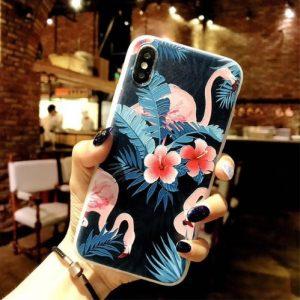 flamingo bloemen telefoonhoesje