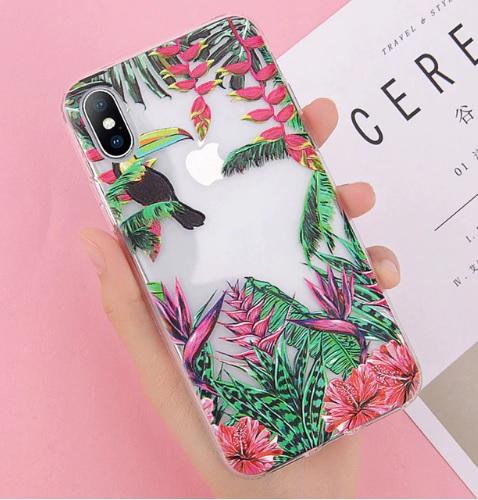 transparante fleurige telefoonhoesje