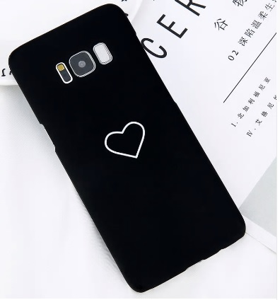 zwart telefoonhoesje met hartje