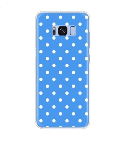 polka blauw met wit hoesje