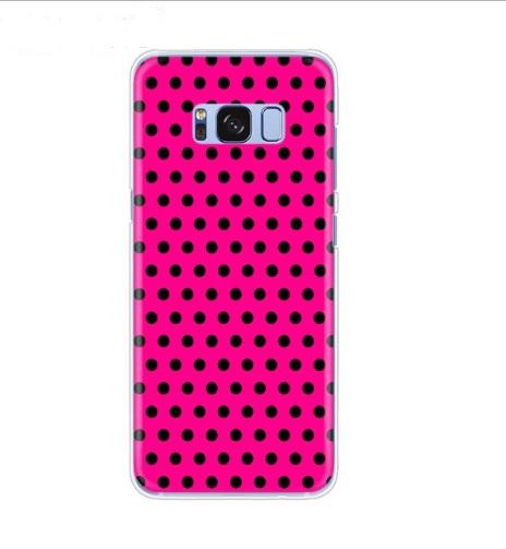 polka roze met zwart hoesje