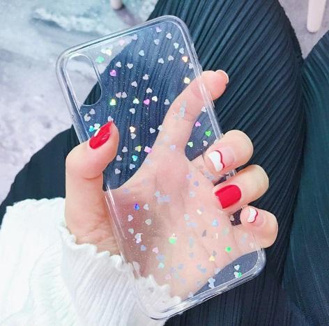 glitter hartjes telefoonhoesje