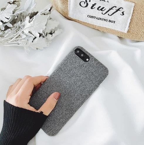 stoffen grijze soft telefoonhoesje